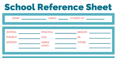 School Reference Sheet picture 4 Reference Sheet - Stay Organized The Whole School Year With This Free Printable School Reference Sheet