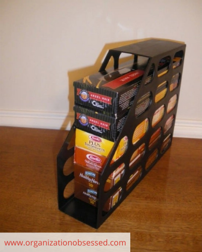 Canva boxed food - ORGANIZING FAVOURITES: 20 WAYS TO ORGANIZE WITH MAGAZINE HOLDERS