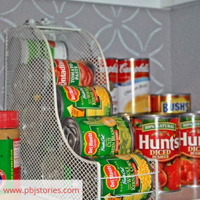 Canva canned goods - ORGANIZING FAVOURITES: 20 WAYS TO ORGANIZE WITH MAGAZINE HOLDERS
