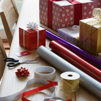 Wrapping supplies - 10 Things To Do NOW To Prepare For The Holidays
