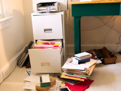 messy piles of paper - HOW TO QUICKLY SORT THROUGH PAPER CLUTTER