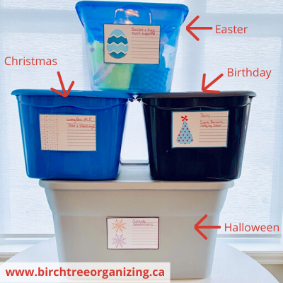 Canva colour coded - 11 TIPS TO ORGANIZE & STORE HOLIDAY DECORATIONS