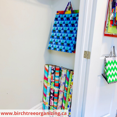 Canva gift wrap and large bags before - HOW TO MAKE A BUDGET-FRIENDLY GIFT WRAP CART