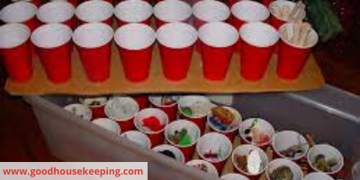 Canva ornaments in cups - 11 TIPS TO ORGANIZE & STORE HOLIDAY DECORATIONS