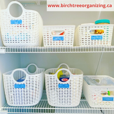 Canca baskets for pantry organization  - ORGANIZING FAVOURITES: 20 WAYS TO GET ORGANIZED WITH BASKETS