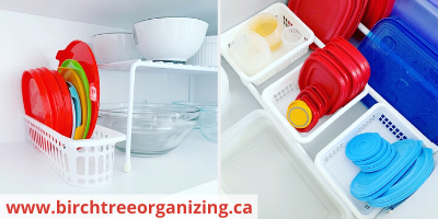 Canva baskets for Tupperware organization - ORGANIZING FAVOURITES: 20 WAYS TO GET ORGANIZED WITH BASKETS