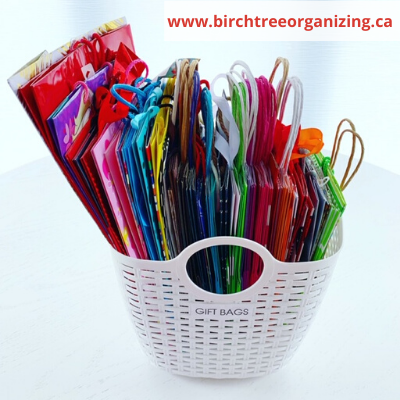 Canva baskets for gift bag storage - ORGANIZING FAVOURITES: 20 WAYS TO GET ORGANIZED WITH BASKETS