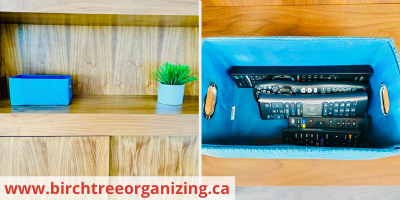 Canva baskets for remote and controller storage - ORGANIZING FAVOURITES: 20 WAYS TO GET ORGANIZED WITH BASKETS