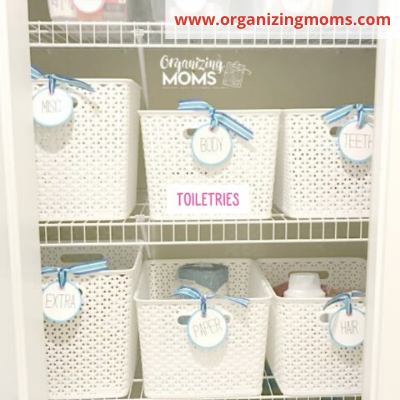 Canva baskets for toiletrie back stock - ORGANIZING FAVOURITES: 20 WAYS TO GET ORGANIZED WITH BASKETS