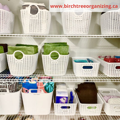 baskets for linen closet organization - ORGANIZING FAVOURITES: 20 WAYS TO GET ORGANIZED WITH BASKETS