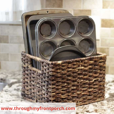 canva baskets for sheet pan organization - ORGANIZING FAVOURITES: 20 WAYS TO GET ORGANIZED WITH BASKETS