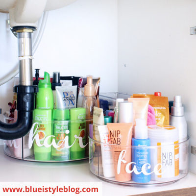 canva under bathroom sink - ORGANIZING FAVOURITES: 16 WAYS TO ORGANIZE WITH TURNTABLES