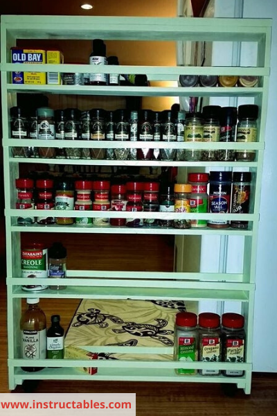 Canva beside fridge cart - 26 EASY WAYS TO ORGANIZE YOUR SPICES