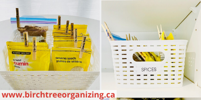Canva cupboard basket - 26 EASY WAYS TO ORGANIZE YOUR SPICES
