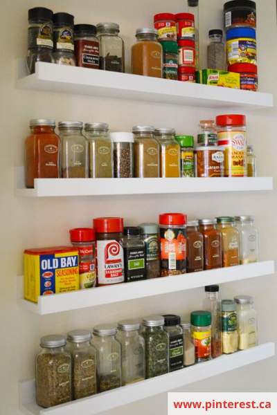Canva picture ledge - 26 EASY WAYS TO ORGANIZE YOUR SPICES