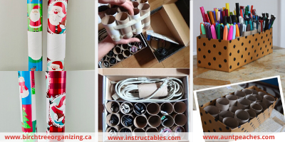 Canva toilet paper roll cord organizing - ORGANIZING FAVOURITES: NO-COST ORGANIZING IDEAS USING WHAT YOU HAVE