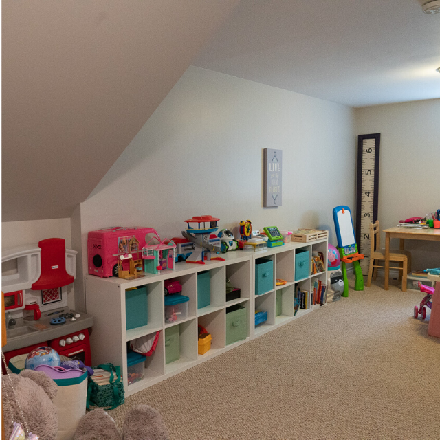 Canva from stairs before - PLAYROOM