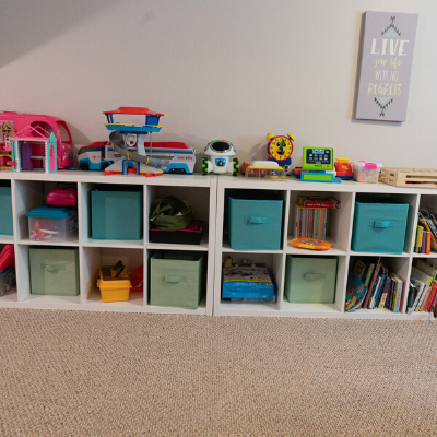 close up shelves before - PLAYROOM