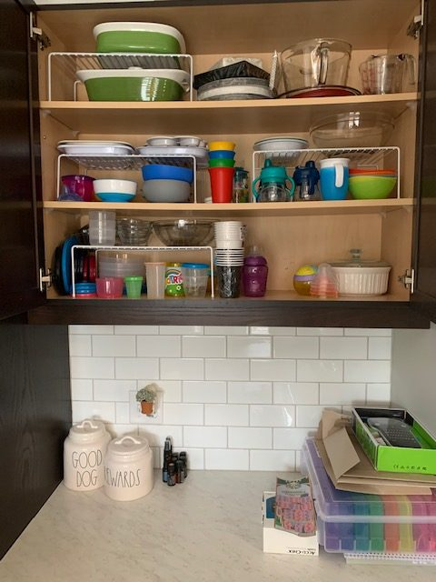 kids dishes before rotated - NEW KITCHEN UNPACKING & ORGANIZING