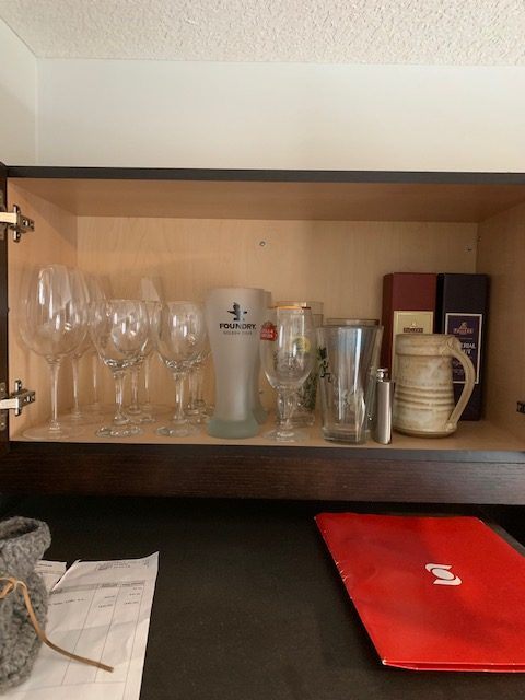 wine glasses before rotated - NEW KITCHEN UNPACKING & ORGANIZING
