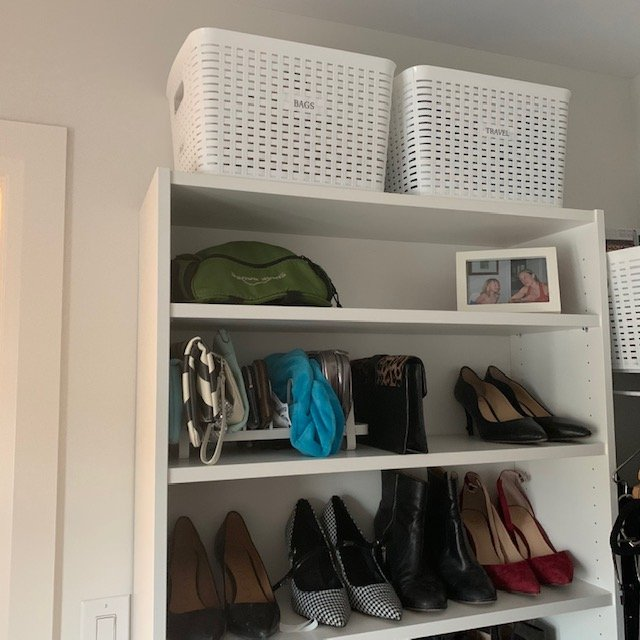 Top of shelf AFTER - Principal Closet Before and After Pictures