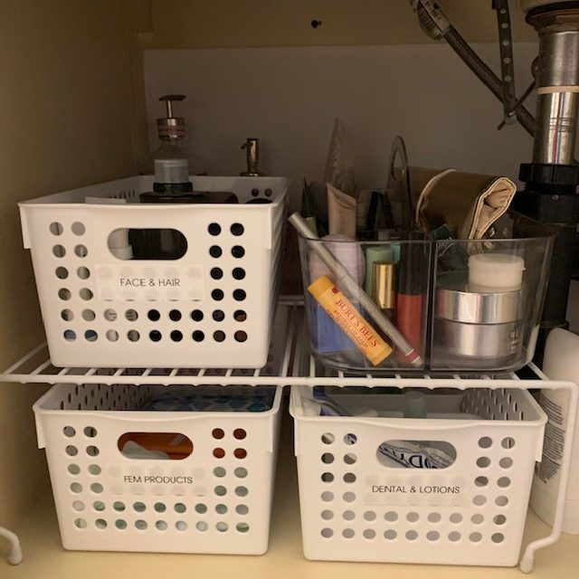 baskets close up AFTER rotated - Bathroom Cabinet Before and After Pictures
