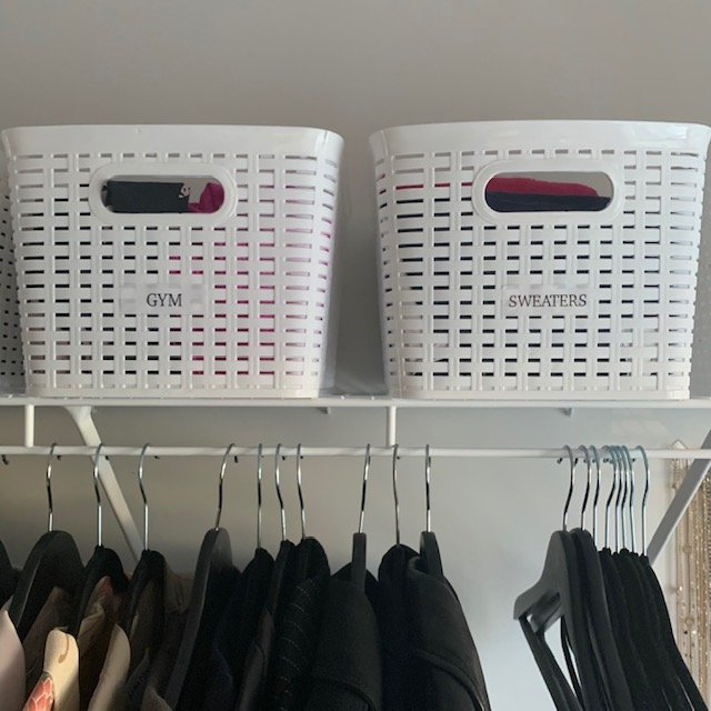 labelled baskets AFTER - Principal Closet Before and After Pictures