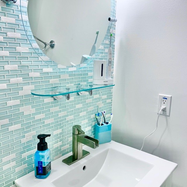sink AFTER - Small Bathroom Cabinet Before and After Pictures