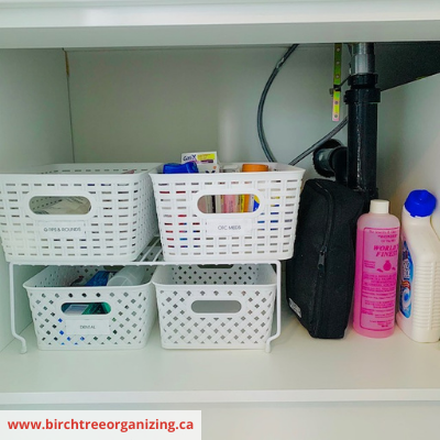 Risers and baskets Undersink organization - 8 EASY WAYS TO ORGANIZE UNDER THE SINK