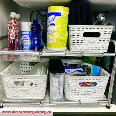 Shelf and Baskets Under sink organization - 8 EASY WAYS TO ORGANIZE UNDER THE SINK