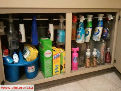 Tension rod Under sink organization - 8 EASY WAYS TO ORGANIZE UNDER THE SINK