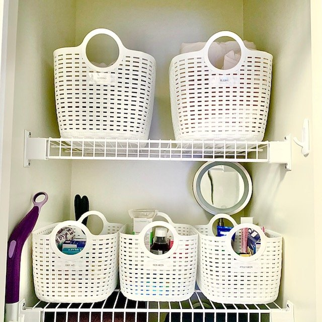 After top 2 shelves - Small Multi-Use Linen Closet Before and After Pictures