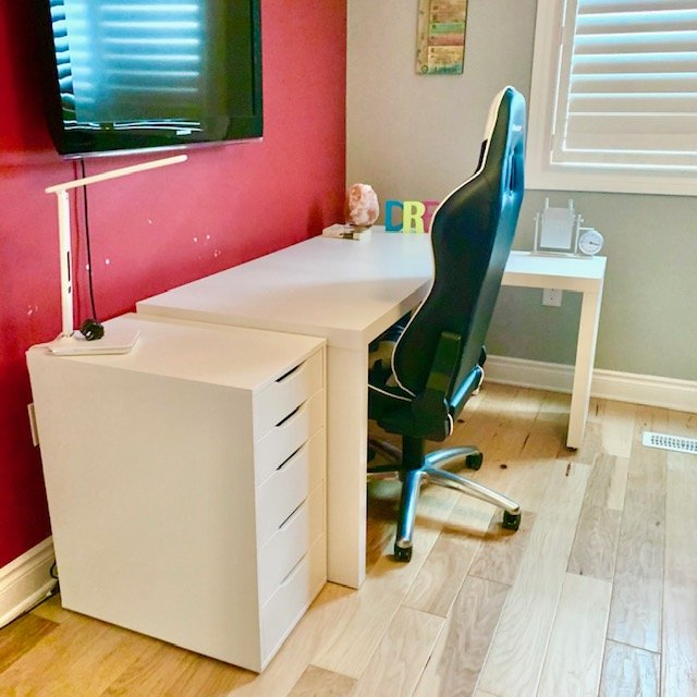 After towards window - TEEN ROOM DESK AREA BEFORE AND AFTER PICTURES