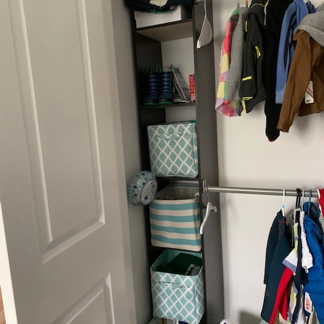 Angle shelves before rotated - BABY REACH-IN CLOSET BEFORE AND AFTER PICTURES