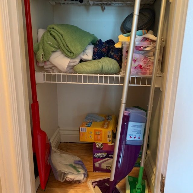 Before floor rotated - Small Multi-Use Linen Closet Before and After Pictures