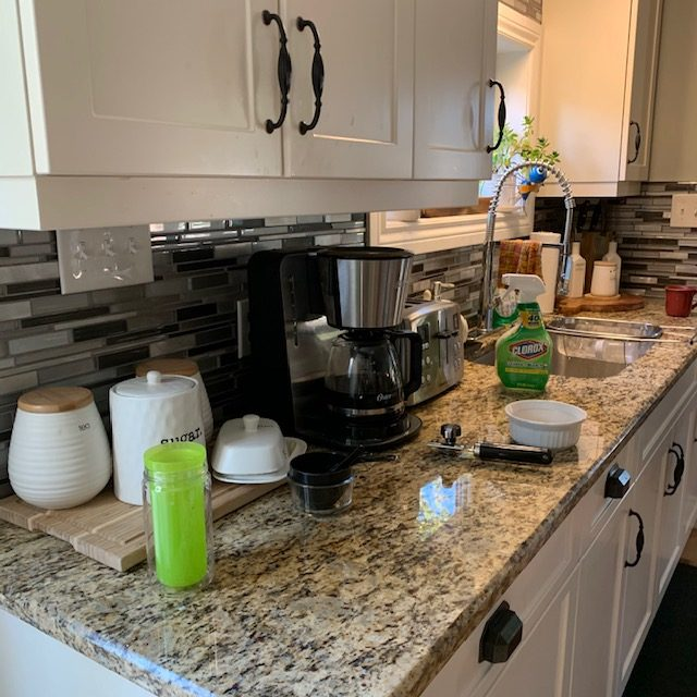 Before kitchen counter under dishes rotated - SMALL KITCHEN BEFORE AND AFTER PICTURES PART 1: COUNTERS