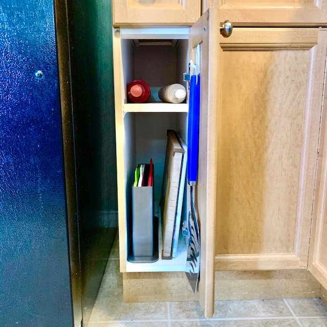 After lower skinny cabinet - SMALL KITCHEN ORGANIZATION BEFORE AND AFTER PICTURES