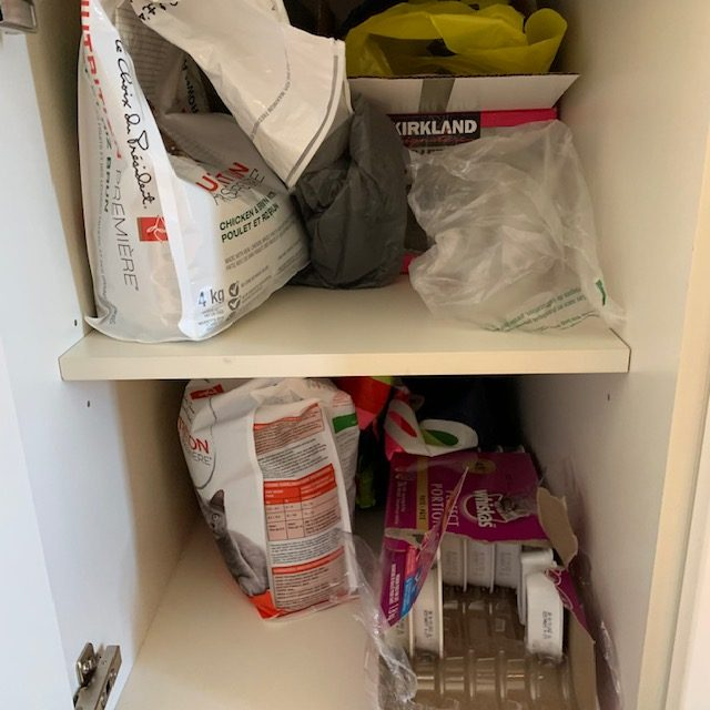 Before pet food rotated - SMALL KITCHEN BEFORE AND AFTER PICTURES PART 2: CABINETS & DRAWERS