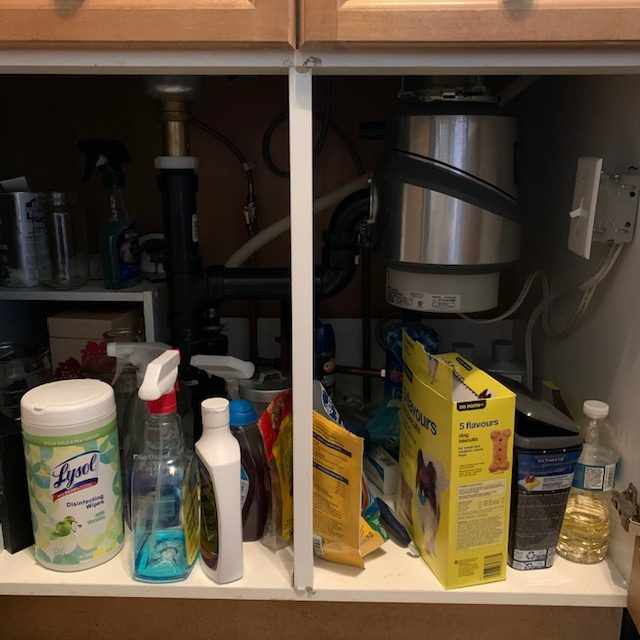 Before under sink 1 rotated - SMALL KITCHEN ORGANIZATION BEFORE AND AFTER PICTURES