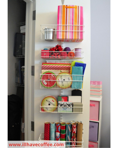 Canva gift wrap station - Fast & Easy Back of Cabinet & Door Storage Ideas