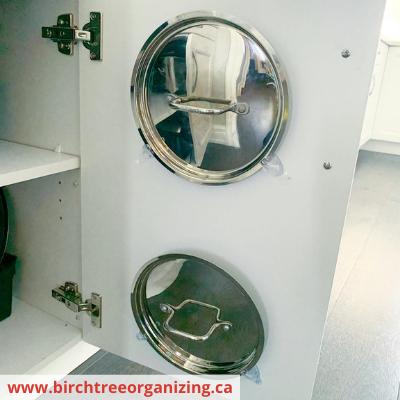 Canva pot lids - Fast & Easy Back of Cabinet & Door Storage Ideas